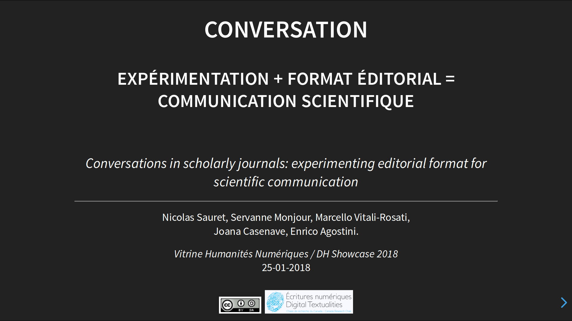 Slide1 - Conversation : expérimentation + format éditorial = communication scientifique